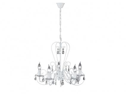 Moderner Kronleuchter in weiß, Glasbehang klar, Honsel-Leuchten, PRISMA - Vorschau 2