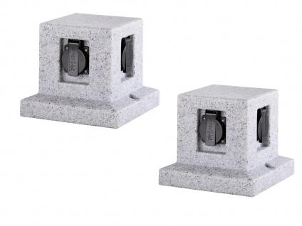 Außensteckdosen Granitoptik 4 fach - 2er Set Gartensteckdosen Terrassensteckdose - Vorschau 2