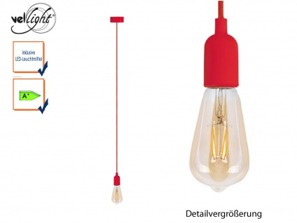 Vellight Schnurpendel Retro Textil rot Hängelampe Filament LED, Pendelleuchte
