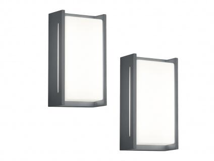 Eckige LED Wandlampen für drinnen & draußen im 2er SET, Aluminium anthrazit, IP54