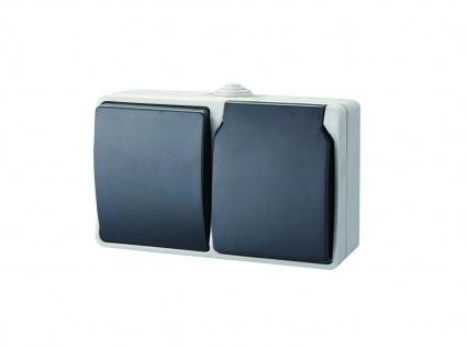 Aufputz Schutzkontaktsteckdose mit Deckel und Wechselschalter Feuchtraumschalter