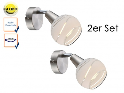 2er Set LED Wandleuchten Lampenschirm Glas, Wandlampen Strahler Wohnzimmer Flur