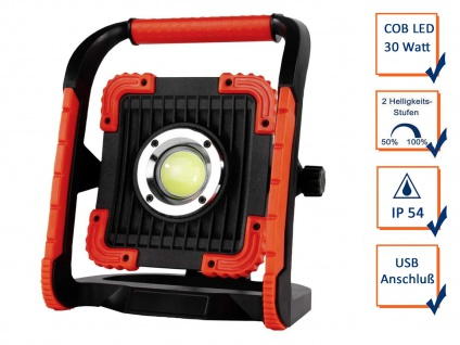Stabiler Baustrahler mit 30 Watt COB LED USB Anschluß, AKKU inkl. Netzteil, IP54