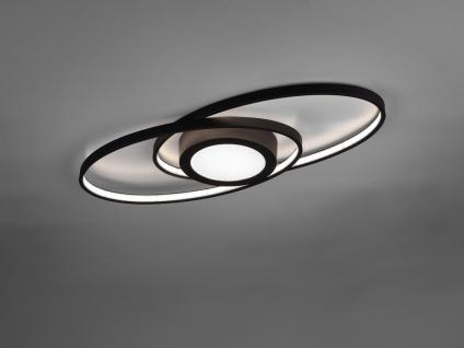 Puristische Ring LED Deckenleuchte GALAXY Schwarz matt mit Switch Dimmer 57x23cm
