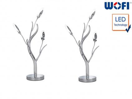 2er Set Design Tischleuchte Chrom 6, 5 Watt LED Tischlampe Wohnzimmer Dekoleuchte