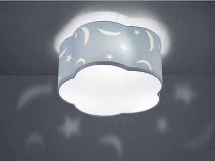 LED Deckenleuchte rund Ø40cm mit Stoffschirmin in pastellblau Design Mond+Sterne