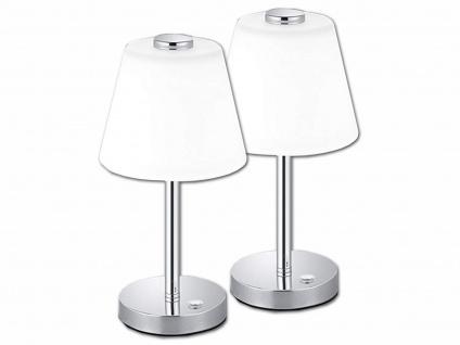 2 x LED Wohnzimmerlampe Nickel TOUCH dimmbar Nachttischleuchten Glasschirm weiß