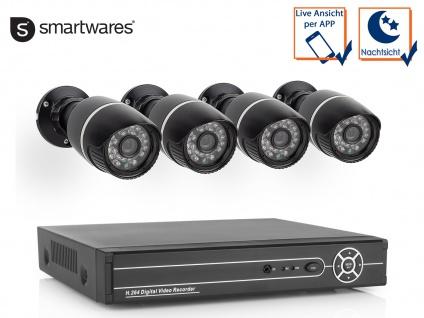 Drahtgebundenes CCTV Kamerasystem mit 4 Außenfarbkameras, 500GB inkl.