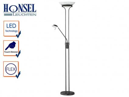 Design LED Deckenfluter dimmbar mit Leselampe Rostfarbig Stehlampe mit Leselicht