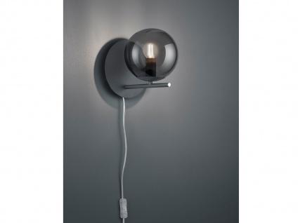 Design Wandlampe Anthrazit mit Lampenschirm Glaskugel rauchfarbig Kabel &Stecker