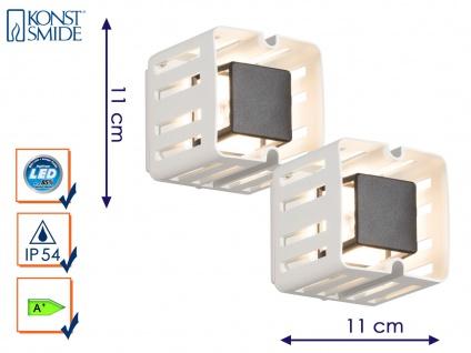 2er-Set weiße LED Außenwandleuchten PESCARA Wandstrahler Wandleuchte 350LM