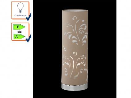 Tischleuchte FLORA Stoffschirm cappuccino mit Dekor, Nachttischlampe Honsel