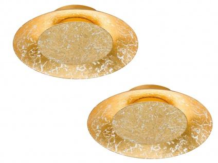 2x runde Design LED Deckenlampe SHINE Farbe gold Ø 21, 5cm, Fischer