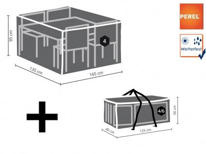 Abdeckhauben Set: Abdeckung für Gartenmöbel 165x135cm + Schutzhülle 4-6 Polster
