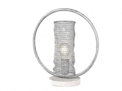 Extravagante Tischleuchte grau betonfarbig, Tischlampe Design Ring, Flurleuchte