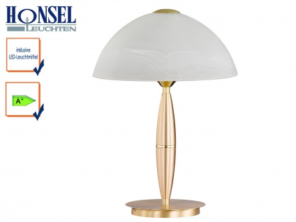 Klassische Tischleuchte Messing Glasschirm Höhe 36cm LED Nachttischlampe Diele