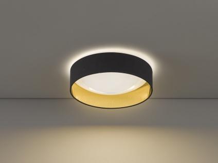 Dimmbare LED Sternenhimmel Deckenleuchte Ø40cm, Lampenschirm Stoff schwarz gold - Vorschau 4