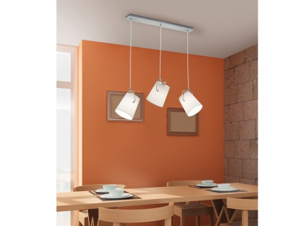 Design Pendelleuchte STOFF Lampenschirme schwenkbar weiß B. 80cm - Esstischlampe