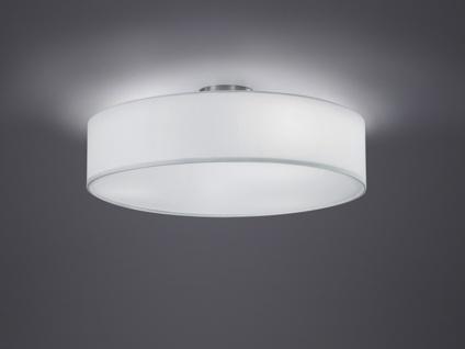 Runde LED Deckenleuchte weißer Textil Lampenschirm Ø50cm Stoffschirm Deckenlampe