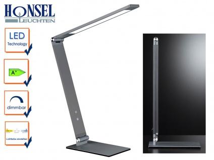 LED Schreibtischleuchte Alu grau verstellbar Dimmer & 4 Lichtfarben Bürolampen