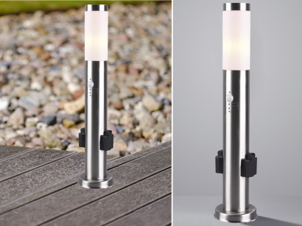 Edelstahl Wegeleuchte mit Bewegungsmelder & Steckdosen Pollerleuchten Stehlampen