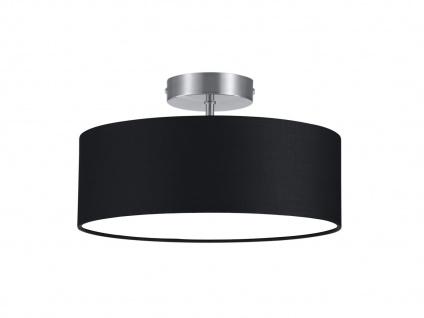 LED Deckenleuchte rund Textil Lampenschirm Schwarz Ø30cm Stoffschirm Deckenlampe