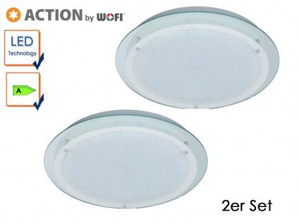 2er Set LED Deckenleuchte MORA, Chrom, Ø 30 cm, LED Deckenlampen Deckenleuchte