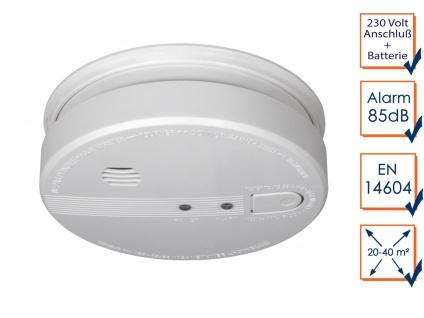 Rauchmelder vernetzbar, 230V + Backup-Batterie, 85dB koppelbarer Feuermelder - Vorschau 1
