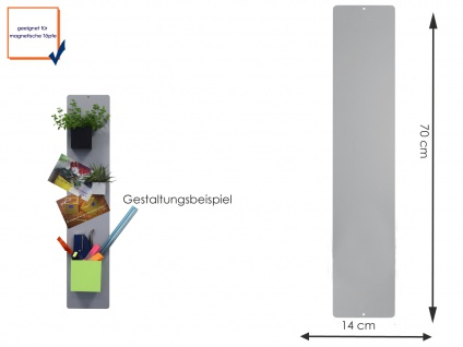 Wandaufbewahrung Wanddeko Memoboard Magnettafel Metall 14 x 70cm, KalaMitica
