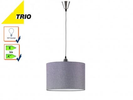 Trio Pendelleuchte COSINUS grau Lampenschirm Textil 40cm, Lampe Küche Esstisch