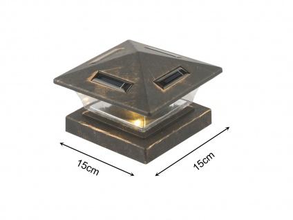 LED Garten Solarlampe für Zaunpfost Terrassenbeleuchtung Balkongeländer, schwarz
