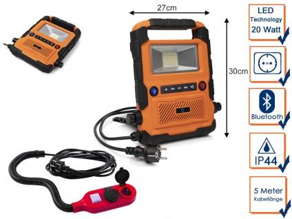 20W LED Baustrahler Bluetooth Baustellenradio mit 2fach Steckdosen Verlängerung