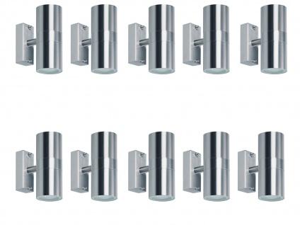 10er SET Up/Down Außenwandleuchte aus Edelstahl inkl. 5 Watt LEDs Wandstrahler
