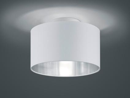 Textil Leuchte rund mit Stoff Lampenschirm Ø30cm in weiß/silber -LED Flurlampe