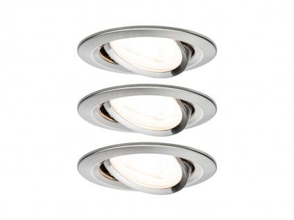 Schwenkbare GU10 LED Einbaustrahler Decke 3er Set rund 68mm Eisen gebürstet 6, 5W