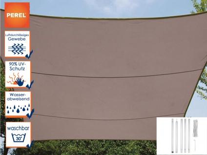 Sonnensegel Rechteckig 3x4m Braun mit Stangenset für Garten - Sonnenschutzsegel