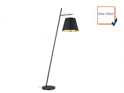 Coole Stehleuchte 180cm mit Stoff Lampenschirm höhenverstellbar in schwarz/gold - Vorschau 3