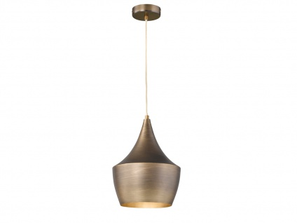 Design Retro Pendelleuchte mit Metall Schirm in Braun Ø 25cm E27 - Esstischlampe - Vorschau 2