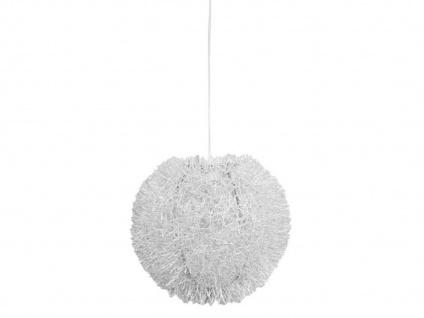 Stylishe Pendelleuchte mit Struktur Lampenschirm Kugelform 40cm Weiß Hängelampe