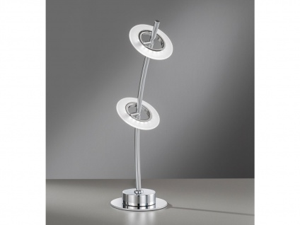 Moderne, 2flammige Honsel Design Tischleuchte LED, chromfarbige Wohnzimmerlampe