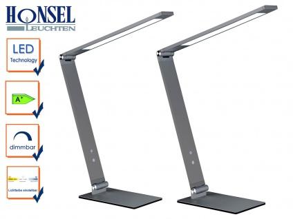 2 LED Schreibtischleuchten grau verstellbar Dimmer & 4 Lichtfarben Bürolampe