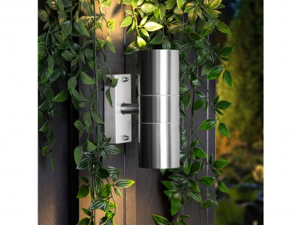 Up/Down Außenwandleuchte aus Edelstahl inkl. 5 Watt LEDs Wandstrahler Strahler