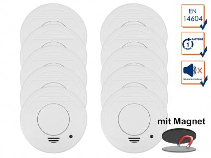 10er-Set Rauchmelder mit 1 Jahres Batterie - Stummschaltfunktion + Magnethalter