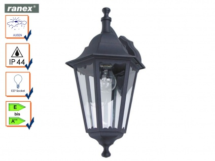 Ranex Außenwandleuchte Laterne CLASSICO schwarz, Außenbeleuchtung Haus Fassade