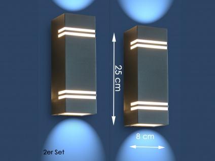 2 Edelstahl LED Außenwandleuchten H.25cm IP44 Up& Downlight Fassadenbeleuchtung