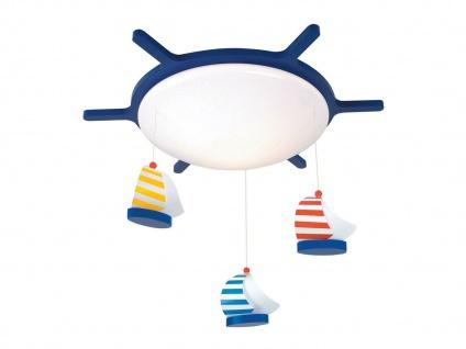 LED Kinderzimmer Deckenlampe dimmbar rund Design Steuerrad mit Mobile SEGELBOOTE