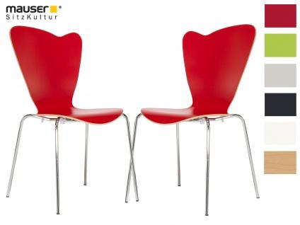 2er Design Stuhl HEART rot Stapelstuhl Esszimmerstuhl Bistrostuhl Schalenstuhl