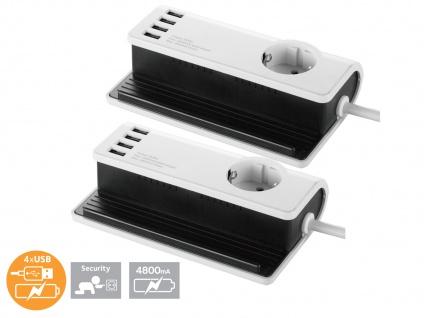2er-SET 4fach USB Tischladestation + Steckdose Smartphone/Tablet, Dockingstation