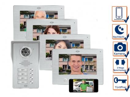 IP Türsprechanlage mit Kamera und Monitor - Video Türklingel für 4 Familienhaus