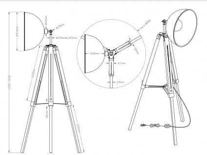 Retro LED Dreibein Stehleuchte höhenverstellbar Schirm schwenkbar schwarz/gold - Vorschau 4